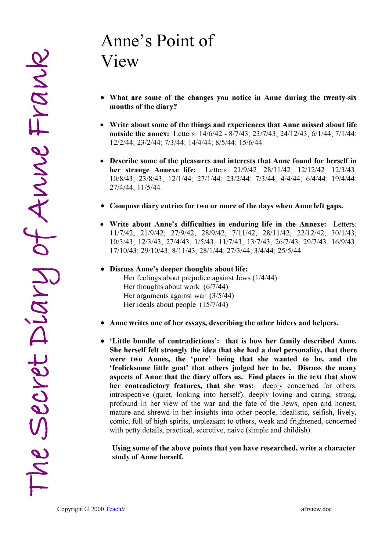 the secret diary of anne frank ks3 prose key stage 3 resources 0 preview