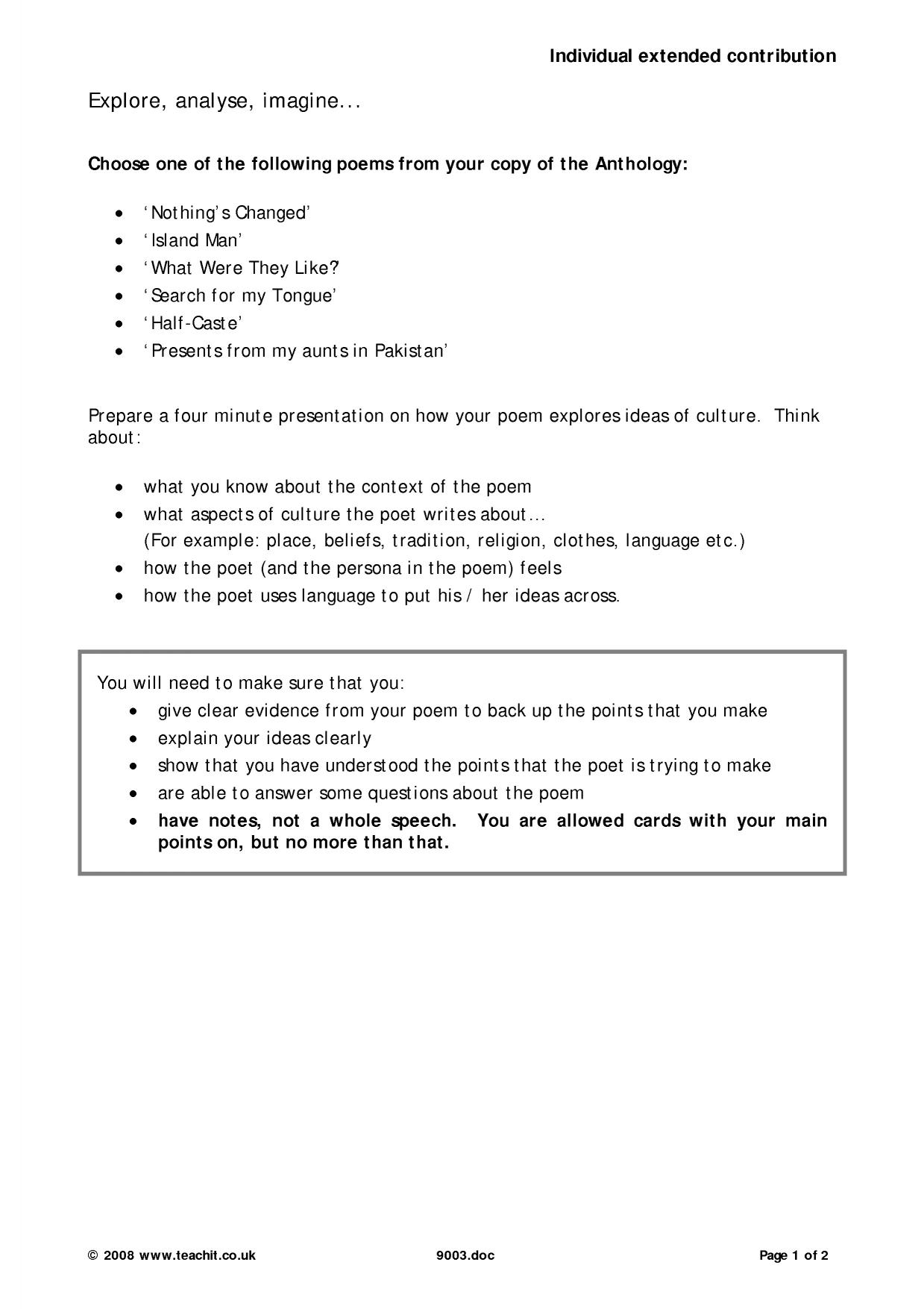 poems from other cultures essay plan  comparing poems from different cultures essay 877 words bartleby