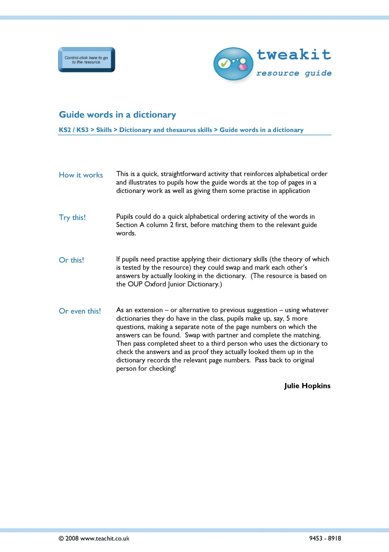 worksheet Dictionary Guide Words Worksheet ks3 dictionary skills teachit english 2 preview