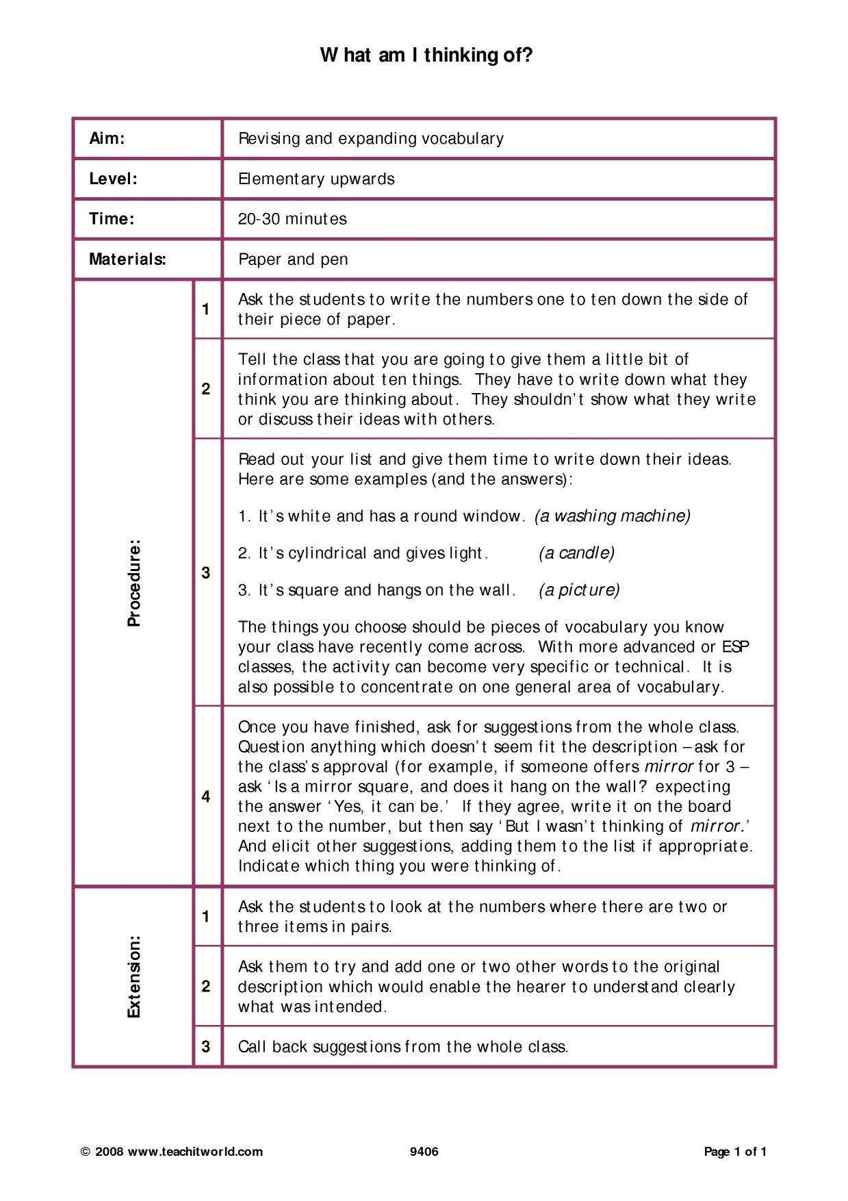 C1 Vocabulary | Revision activities | Teachit Languages