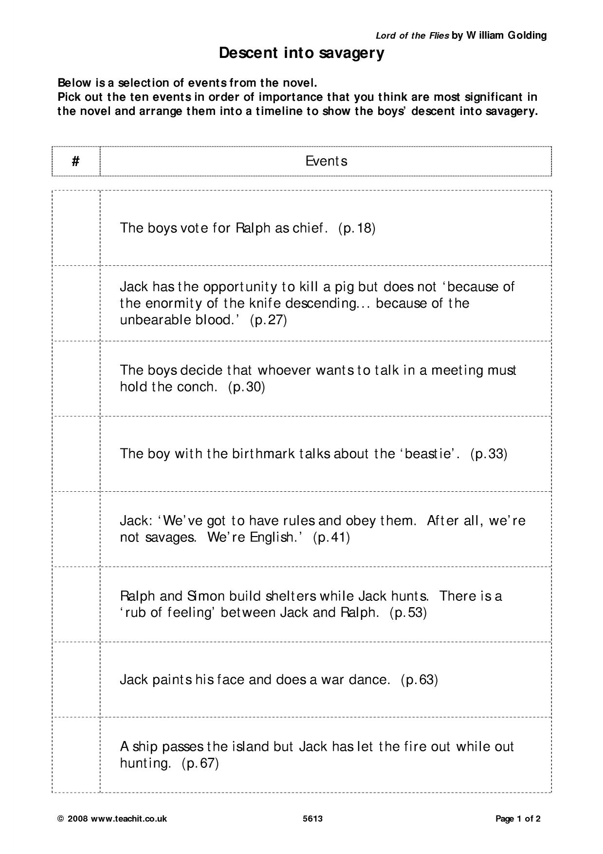 worksheet Sequence Of Events Worksheet lord of the flies by william golding ks4 prose key stage 4 1 preview