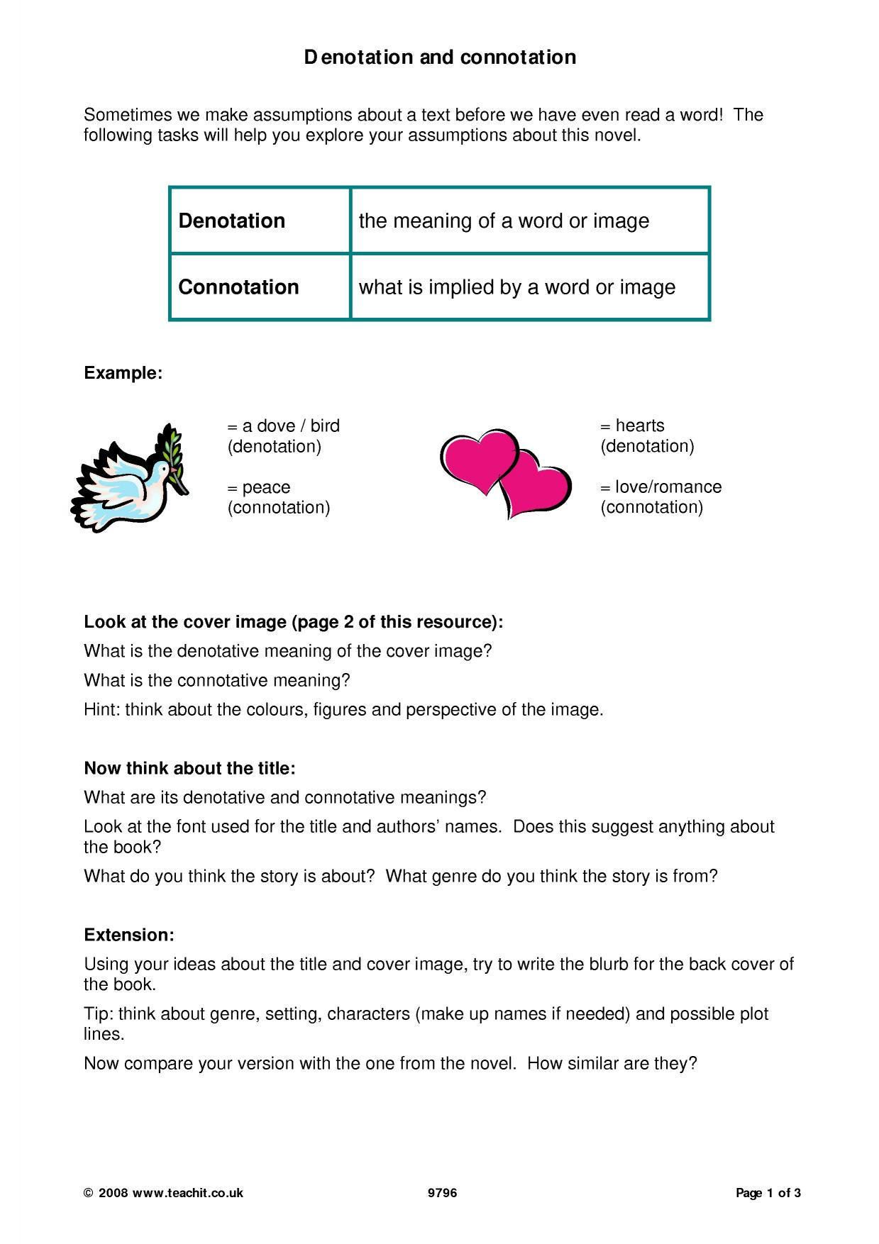 Uncategorized Denotation And Connotation Worksheet tennessee williams search results teachit english 0 preview