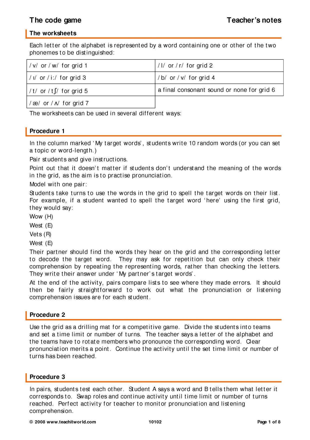 B2 Pronunciation   Minimal pairs and similar sounds   Teachit Languages