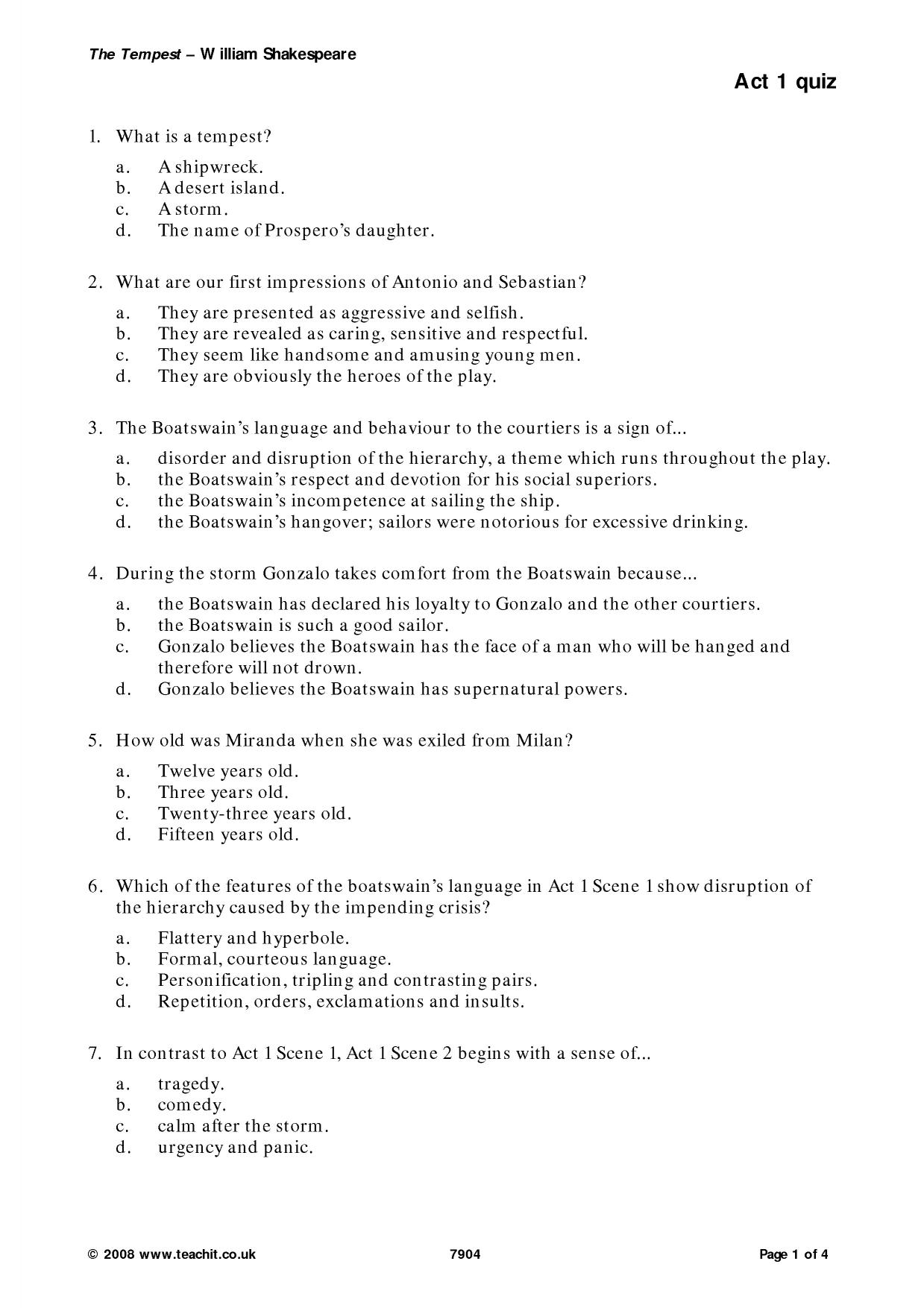 act1 of the tempest essay A discussion of the the tempest themes running throughout the tempest great supplemental information for school essays and projects.
