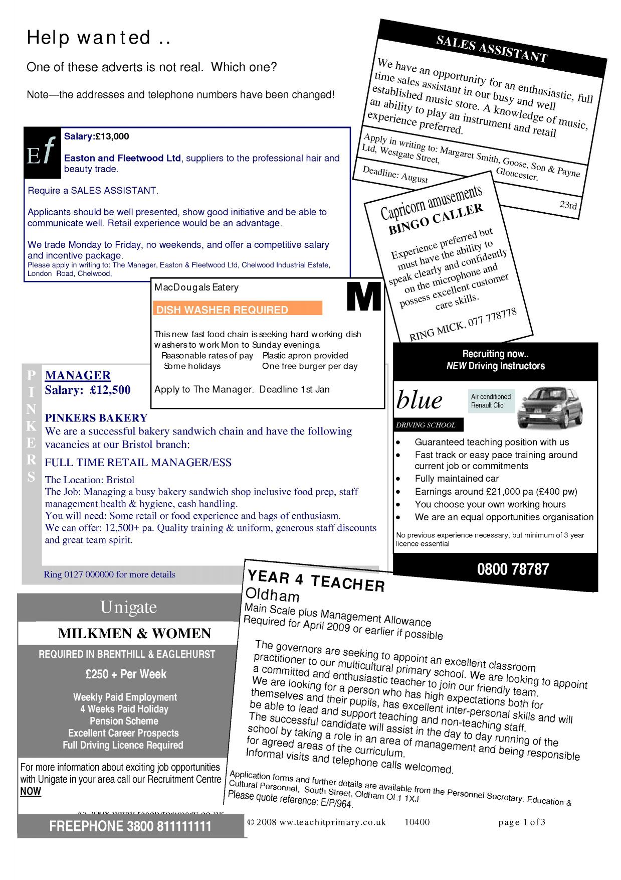 12223 Job Advert Examples Ks on for students, looking for, template.doc, esl sample, for personal assitant, for librarians, unusual headteacher,