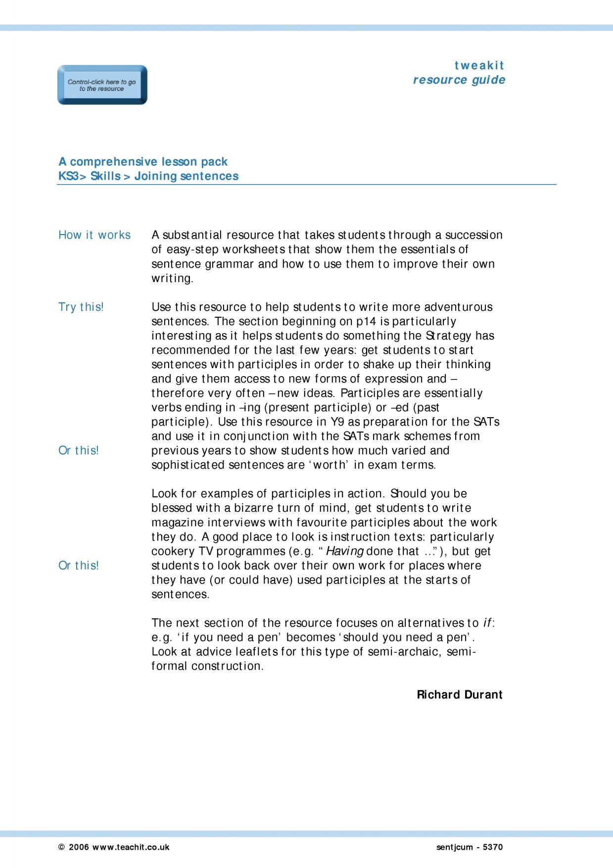 KS3 Sentence construction – Sentence Variety Worksheets