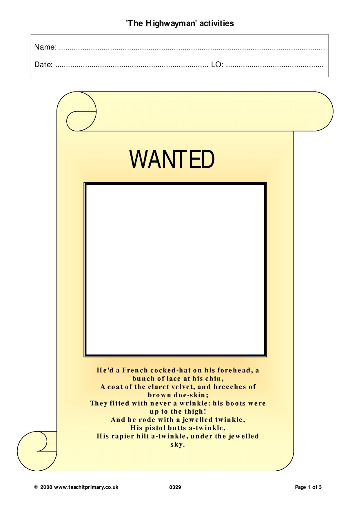 worksheet The Highwayman Worksheet the highwayman activities poem based resources home page resource thumbnail
