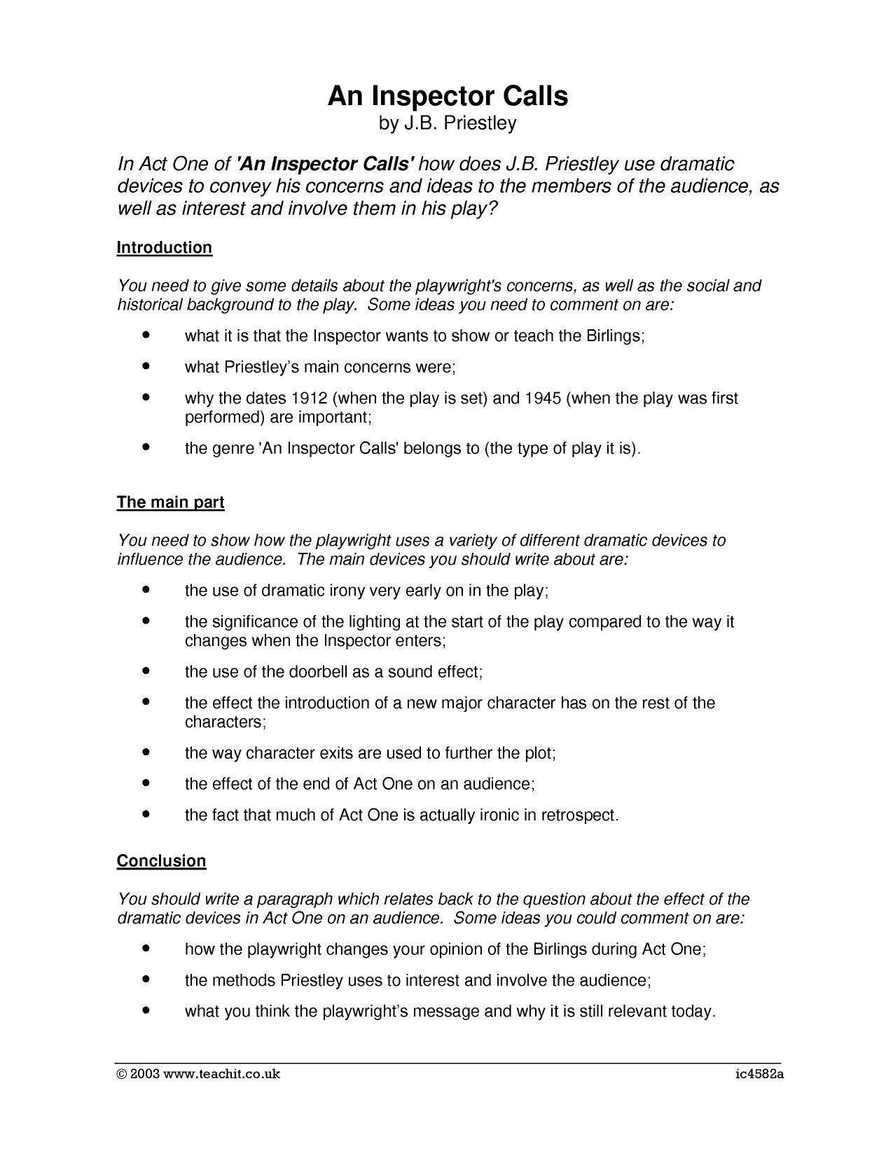 essay on inspector calls More essay examples on morality rubric mrs birling describes the charity as only'helping deserving cases', the word ' deserving' highlights mrs birling's uncharitable nature as all women who go to the charity are in need of some kind of help.