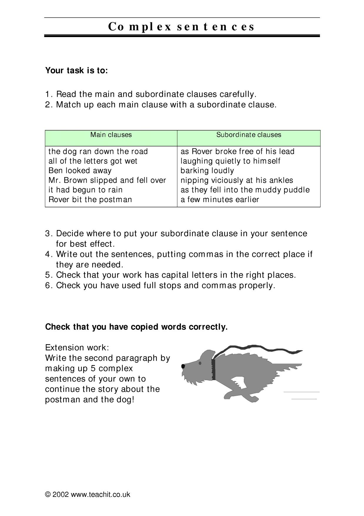 KS3 Sentence construction – Subordinate Clauses Worksheet