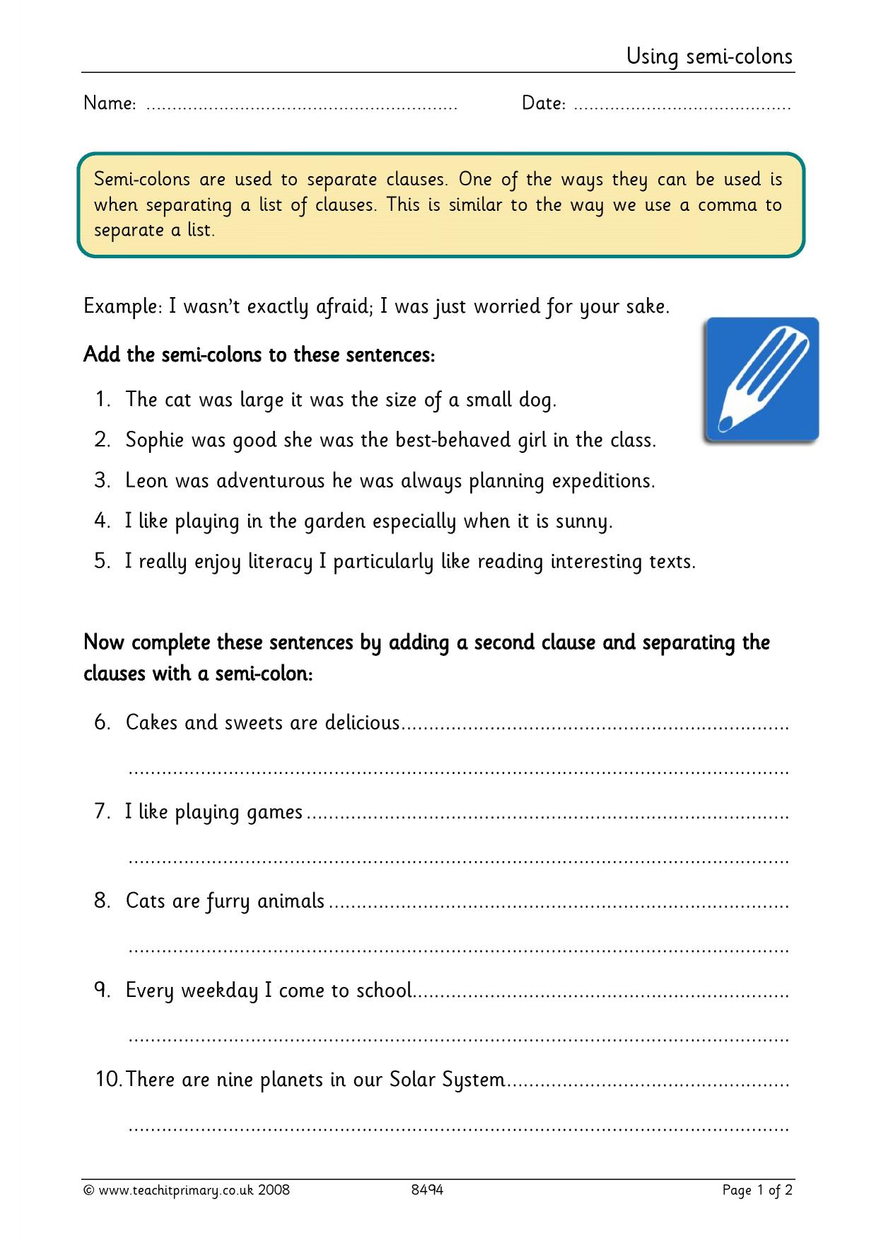 Using semicolons Complex punctuation Home page – Colons and Semicolons Worksheet