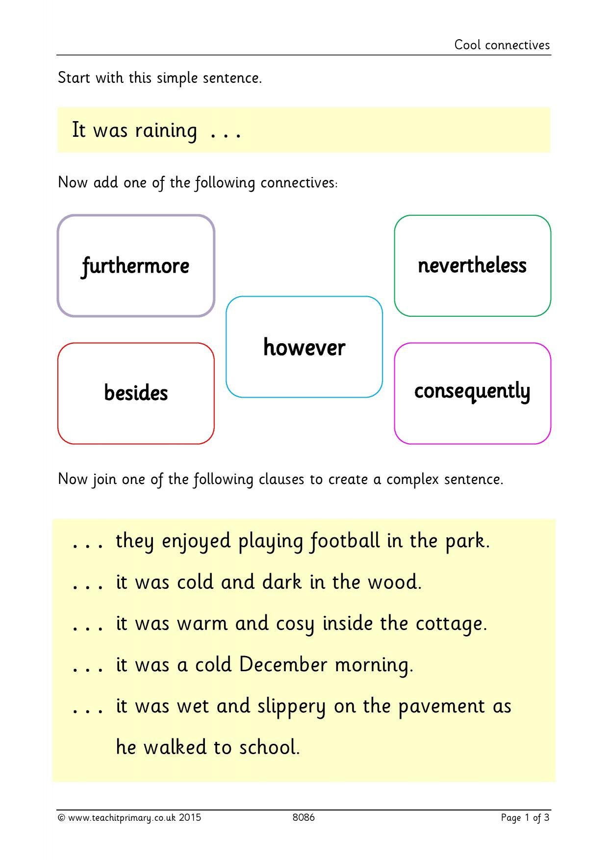 KS1 | Conjunctions and connectives | Teachit Primary