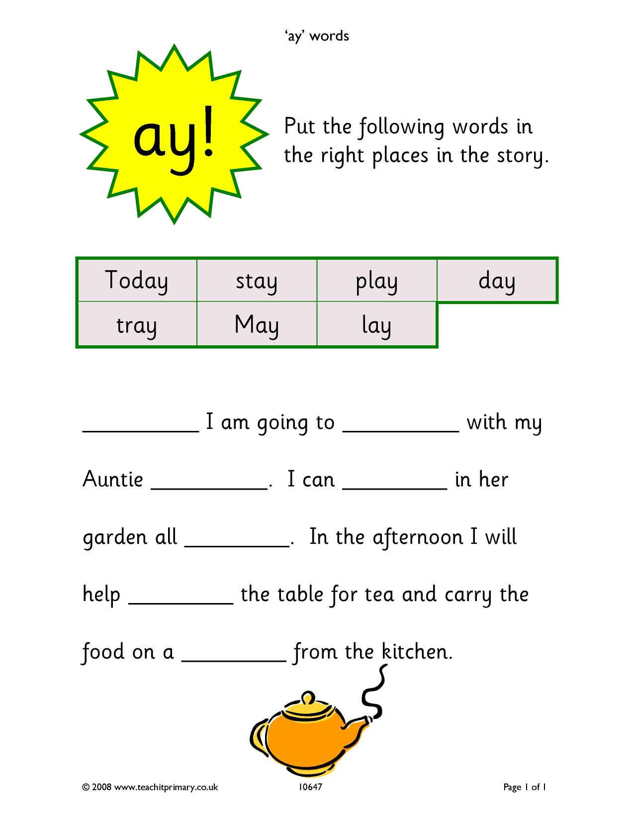 Worksheets Phonic Sentences ay words phonics simple sentences home page resource thumbnail