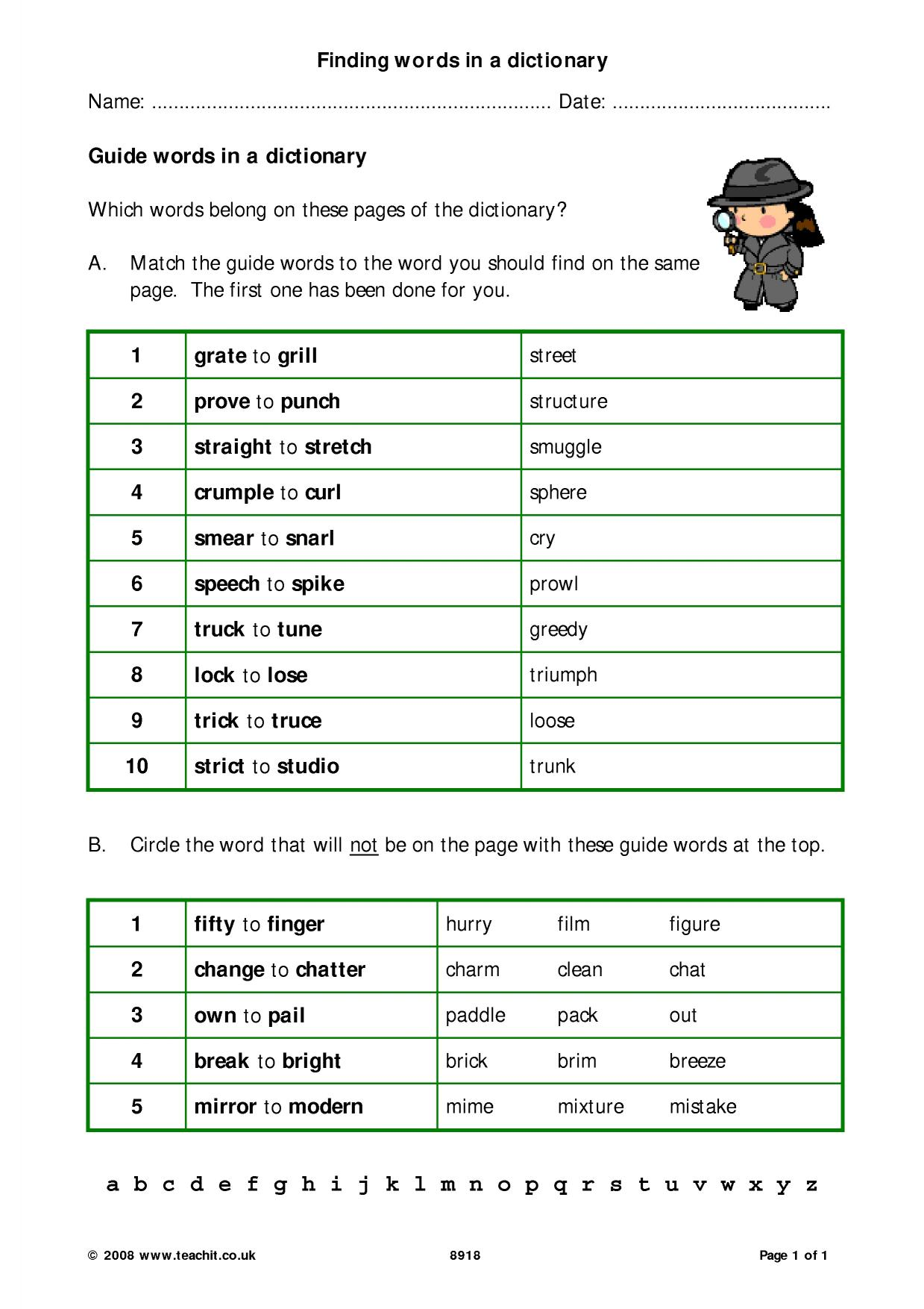 Free second grade dictionary skills worksheets