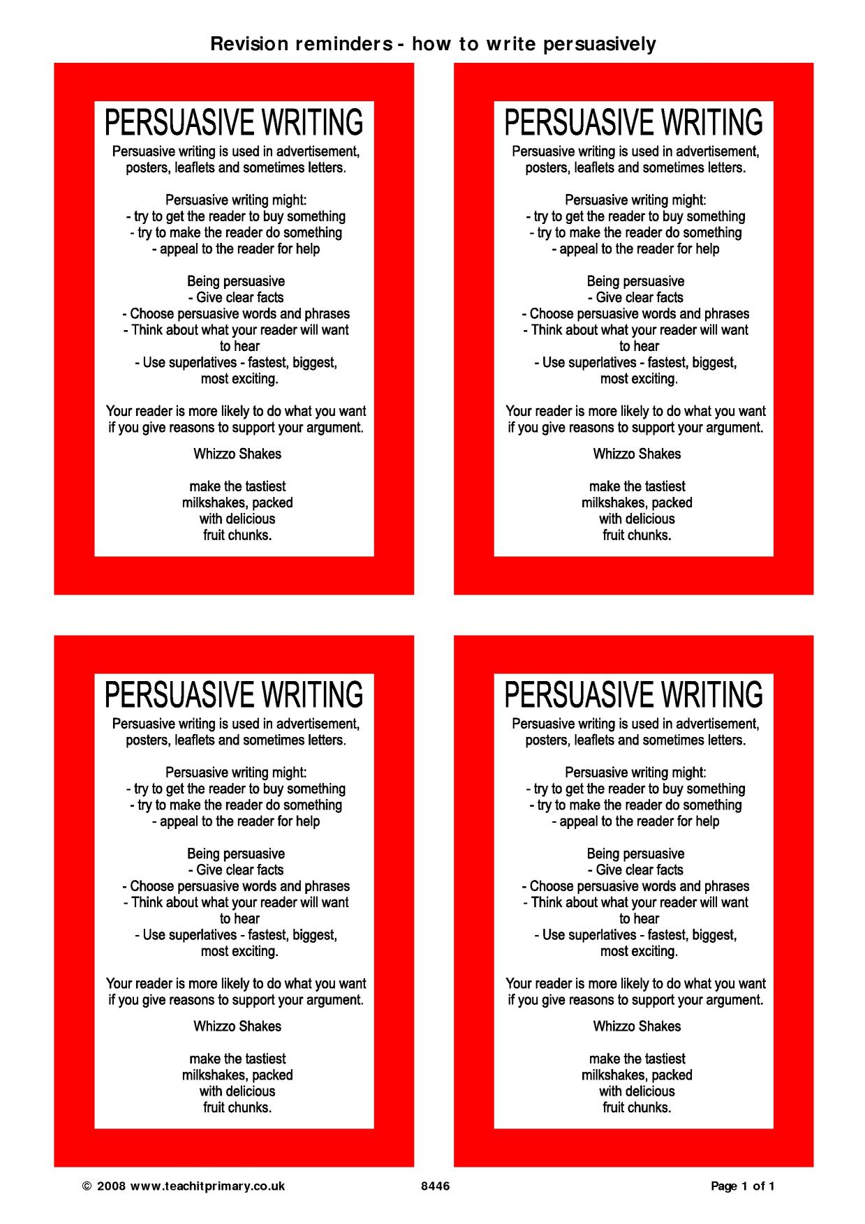 persuasive writing stimulus