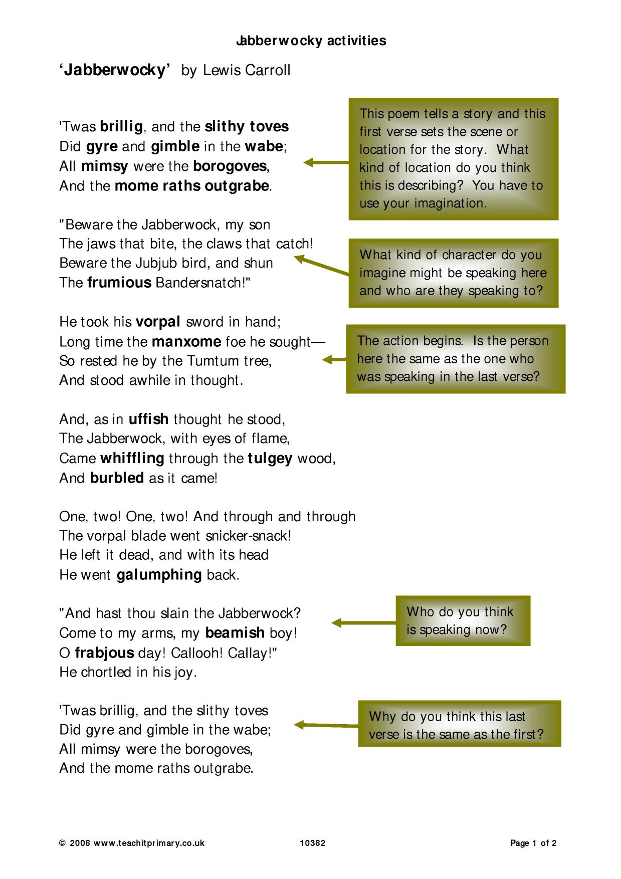 Jabberwocky Poem Meaning
