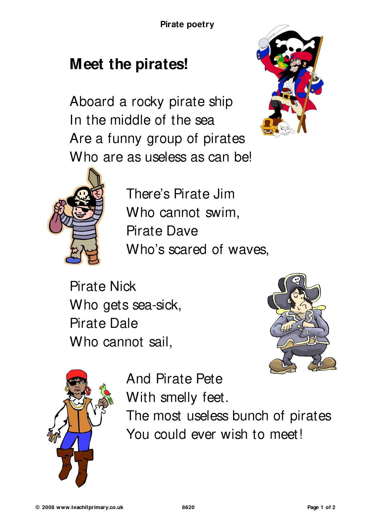 Pirate Poetry Poems On A Theme Home Page