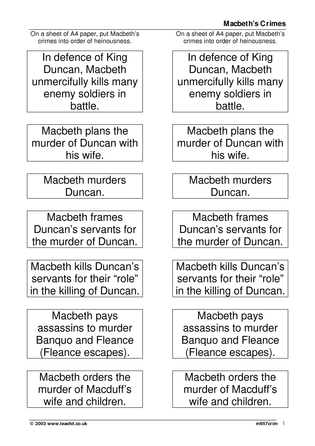 macbeth essay writing frame