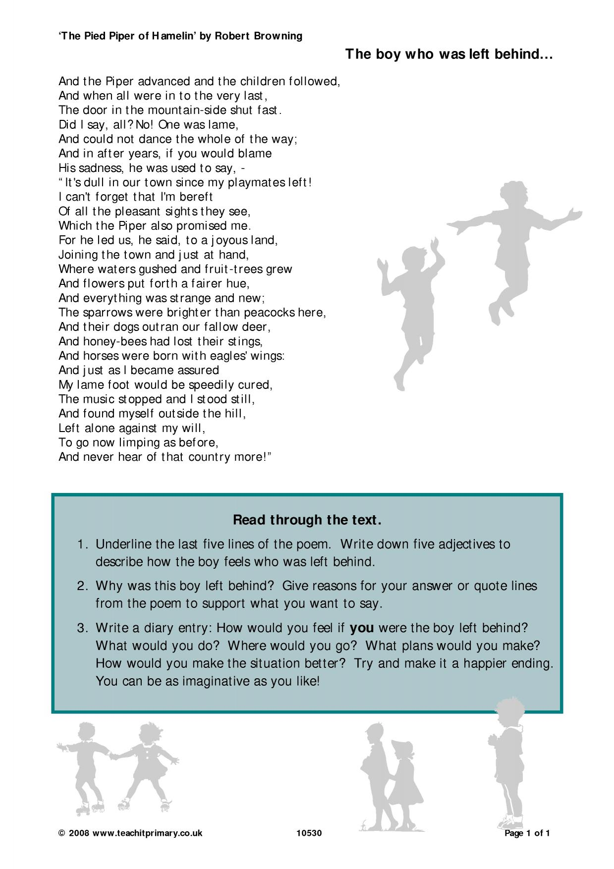 Ideas for lesson plans and activities based on the Pied Piper of Hamelin