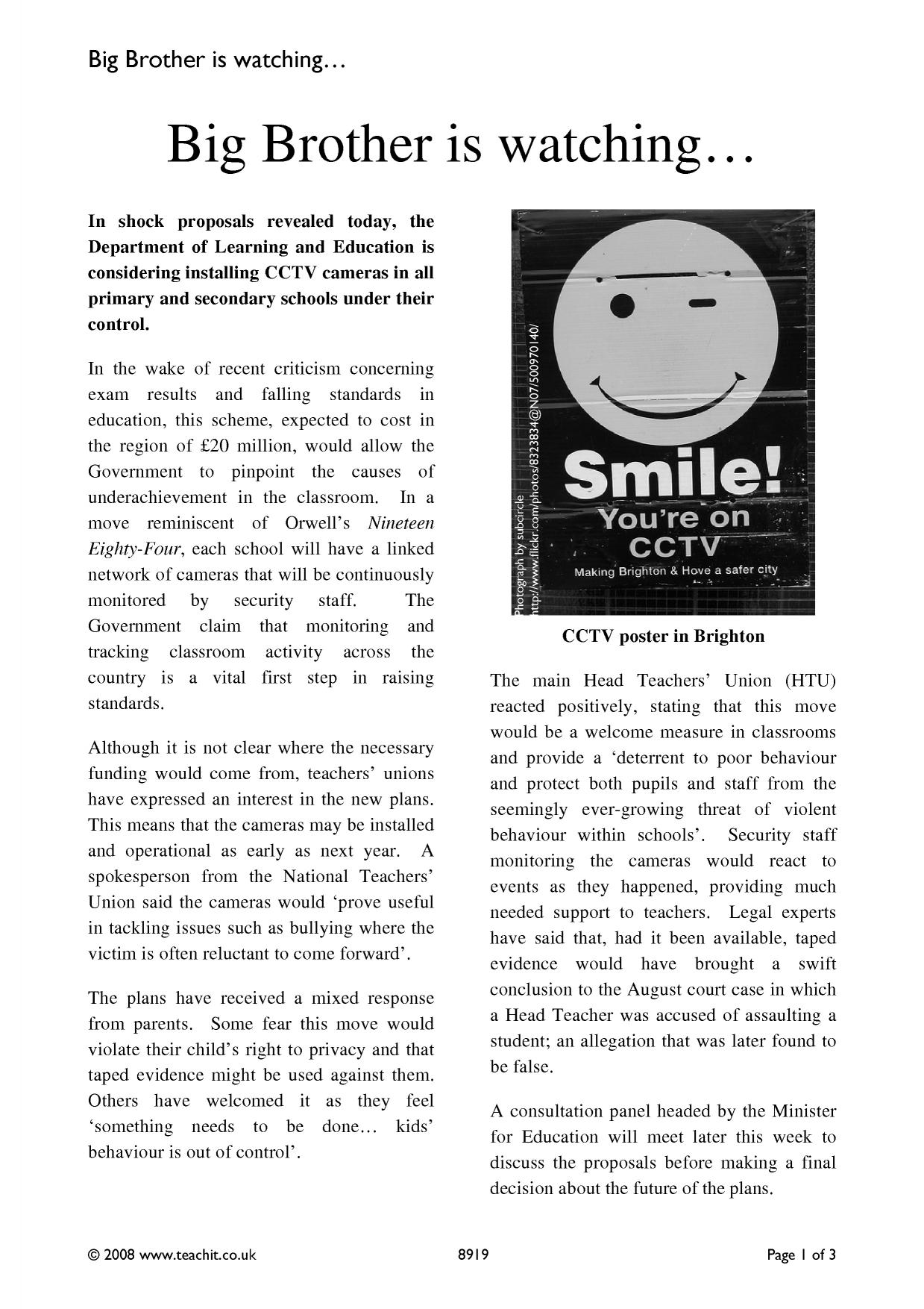 big brother persuasive writing newspaper article Have you ever wondered what a feature article is persuasive, or simply satisfy thanks for this article, this should help when writing news for the school paper.