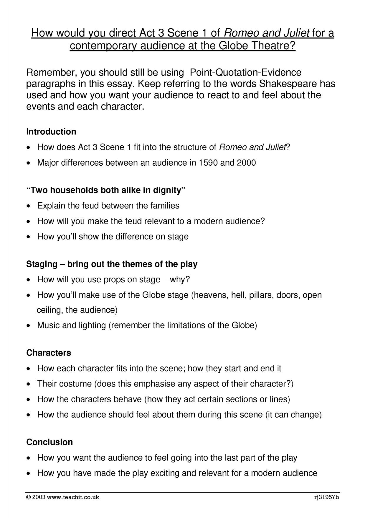 romeo and juliet essay plan act scene  romeo and juliet essay plan act 3 scene 1