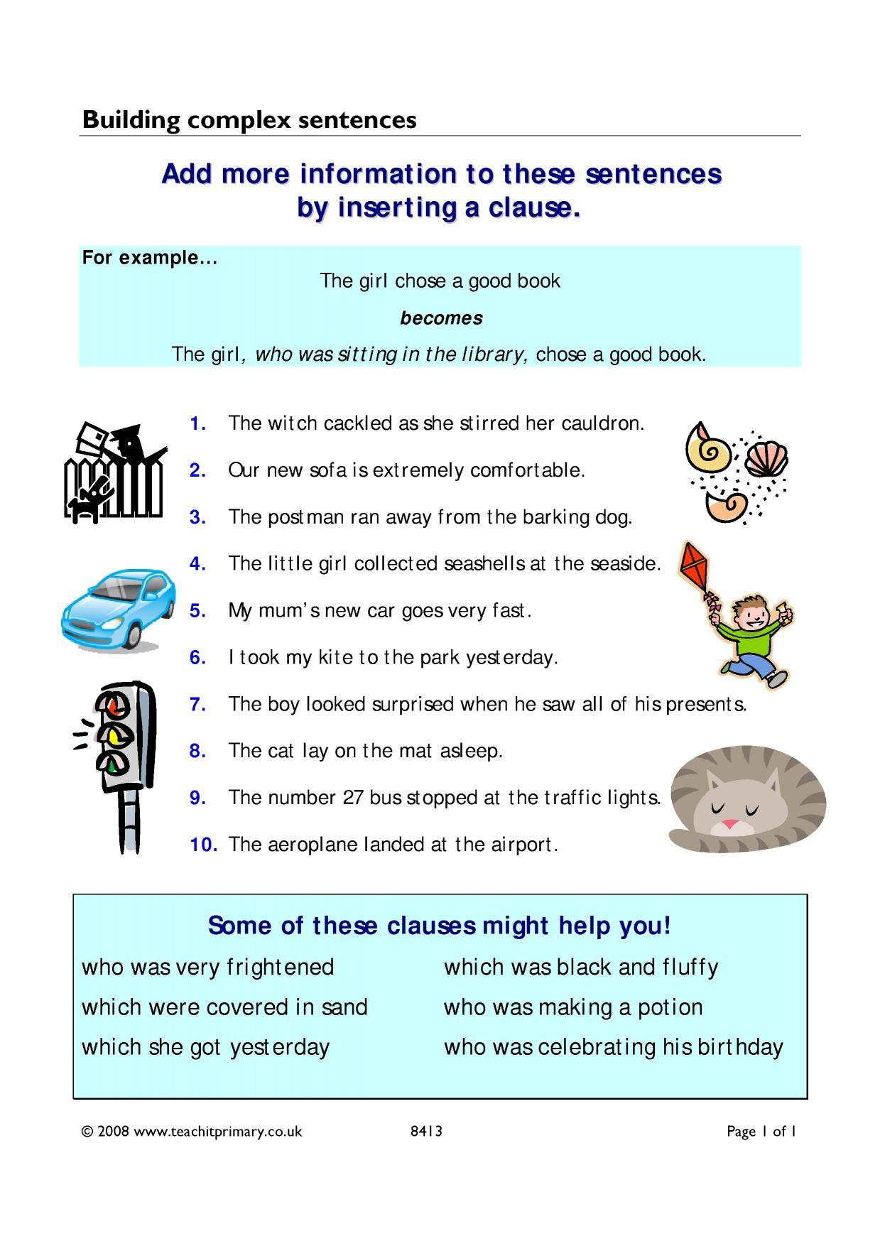 Complex sentences - search results - Teachit Primary