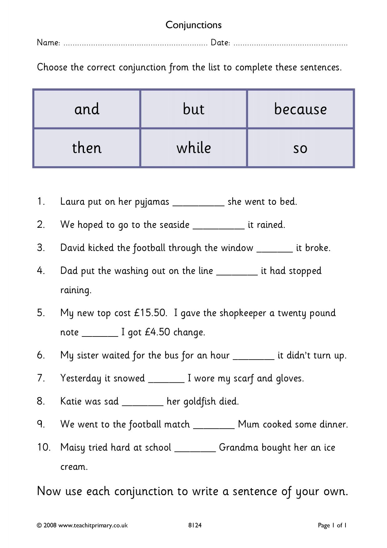 Worksheets Conjunctions Worksheets eyfs ks1 ks2 conjunctions and connectives teachit primary 1 preview