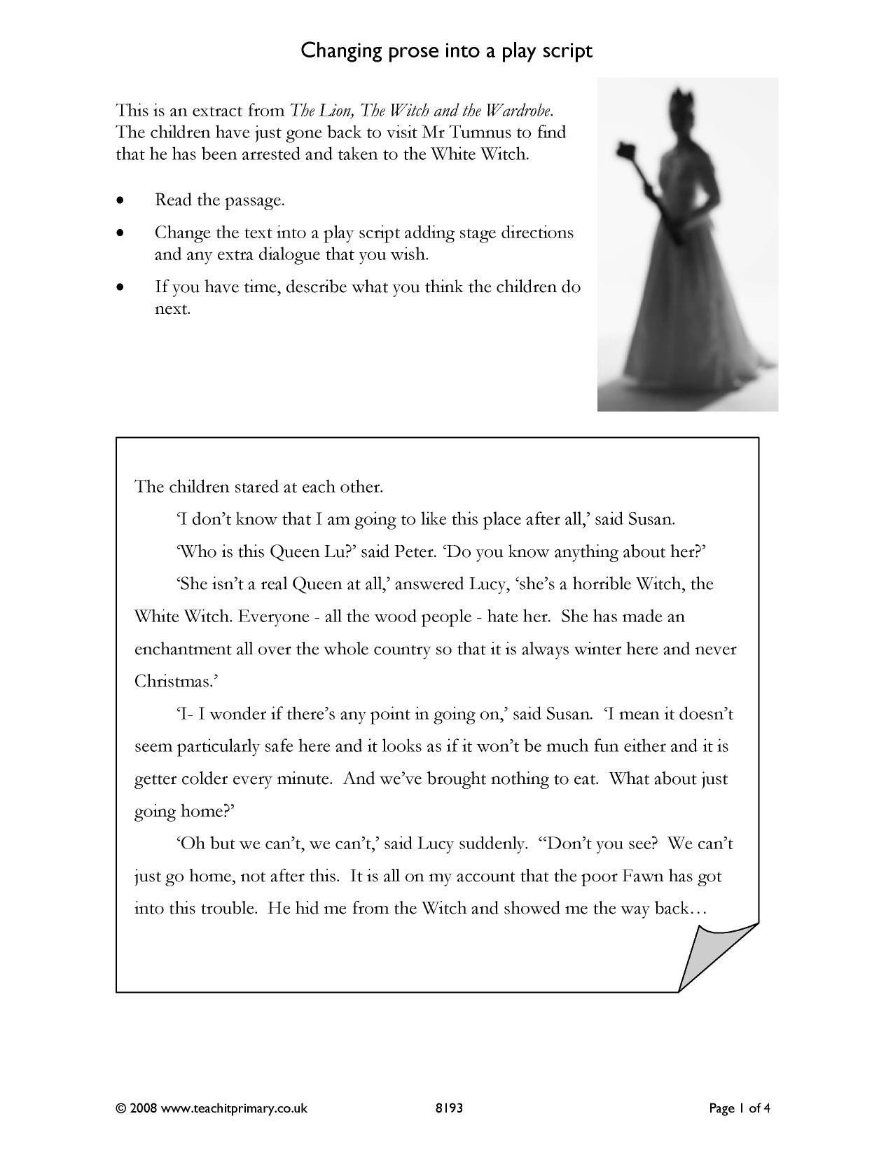 homework playscripts ks2