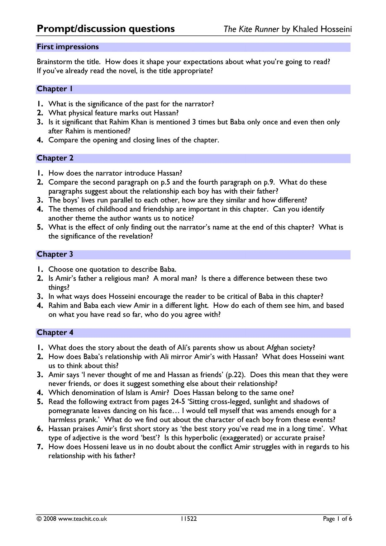 prompt discussion questions the kite runner by khaled hosseini resource thumbnail