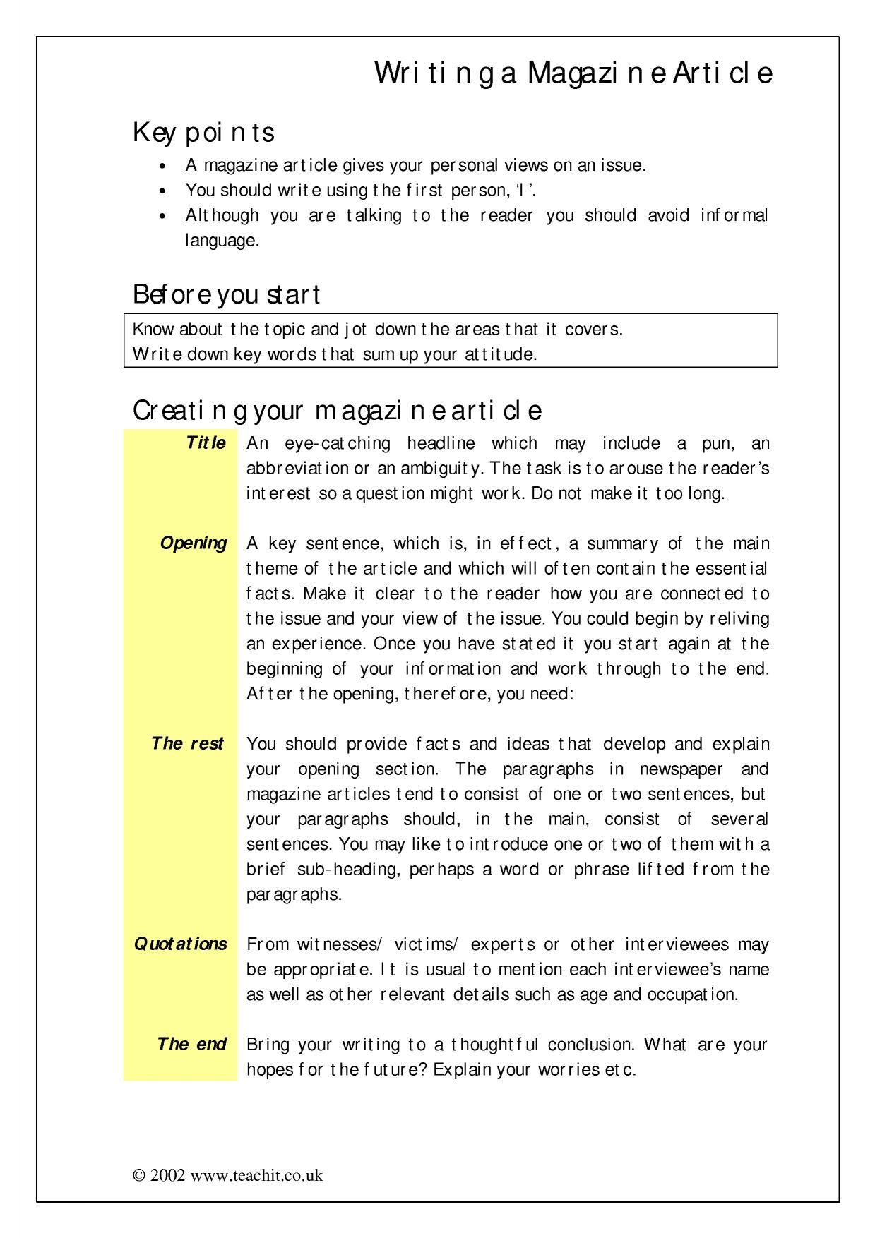 how to write a magazine article gcse english