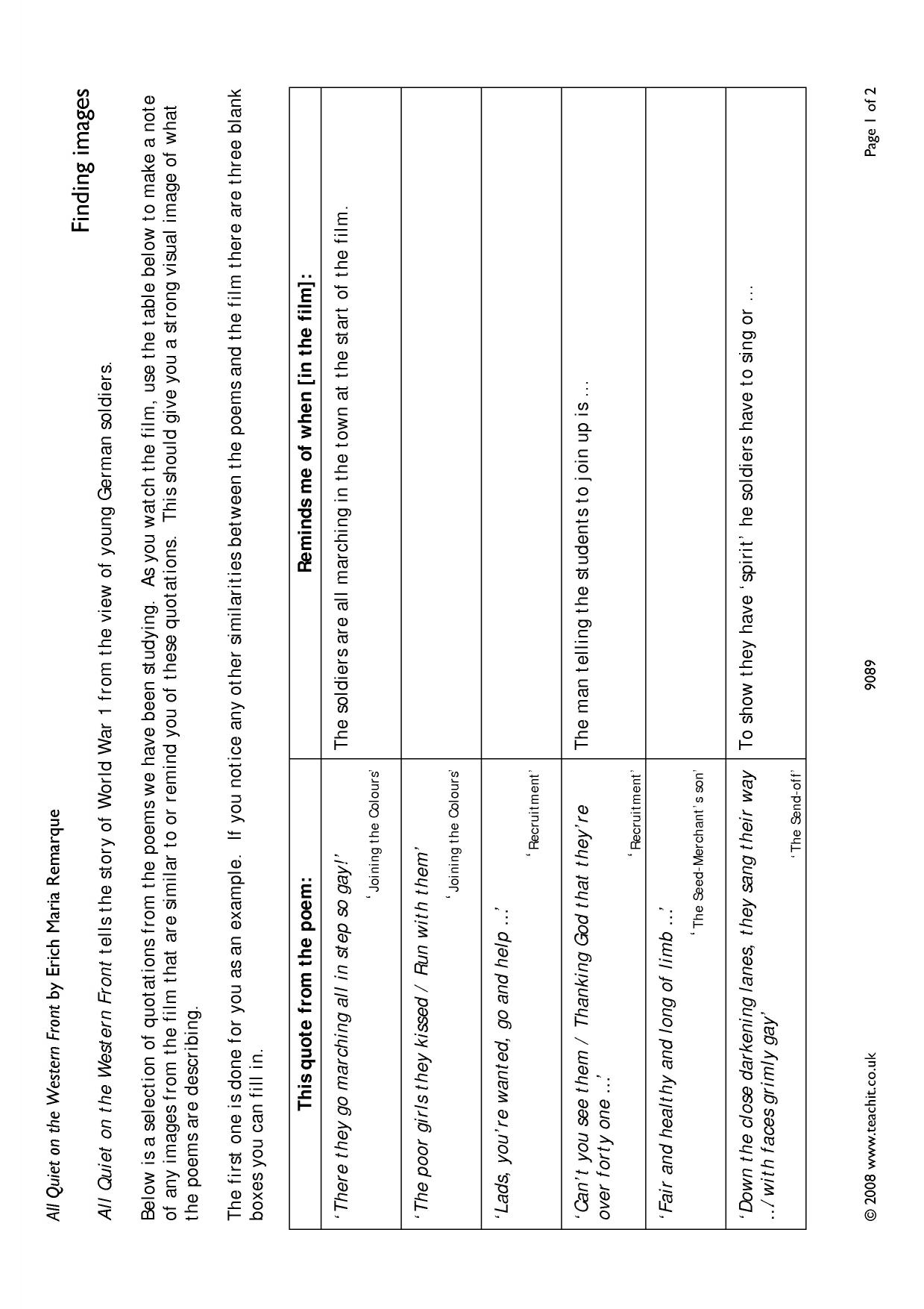 worksheet All Quiet On The Western Front Worksheet ks3 resources all teachit english world war i poetry 0 preview