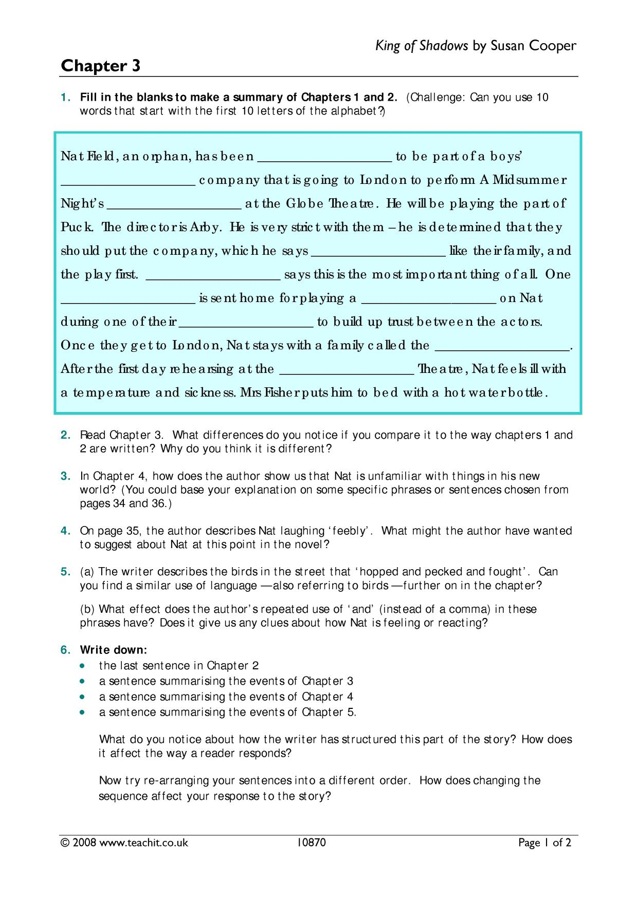 worksheet Lord Of The Flies Chapter 5 Worksheet Answers skellig chapter search results teachit english 1 preview