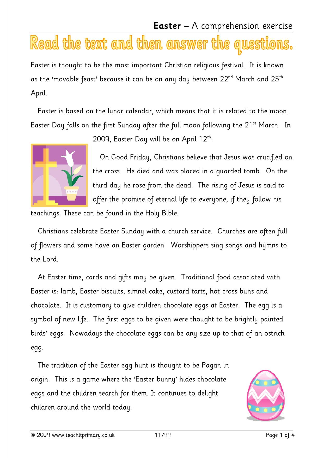 Easter reading comprehension | Traditions | Worksheets ...