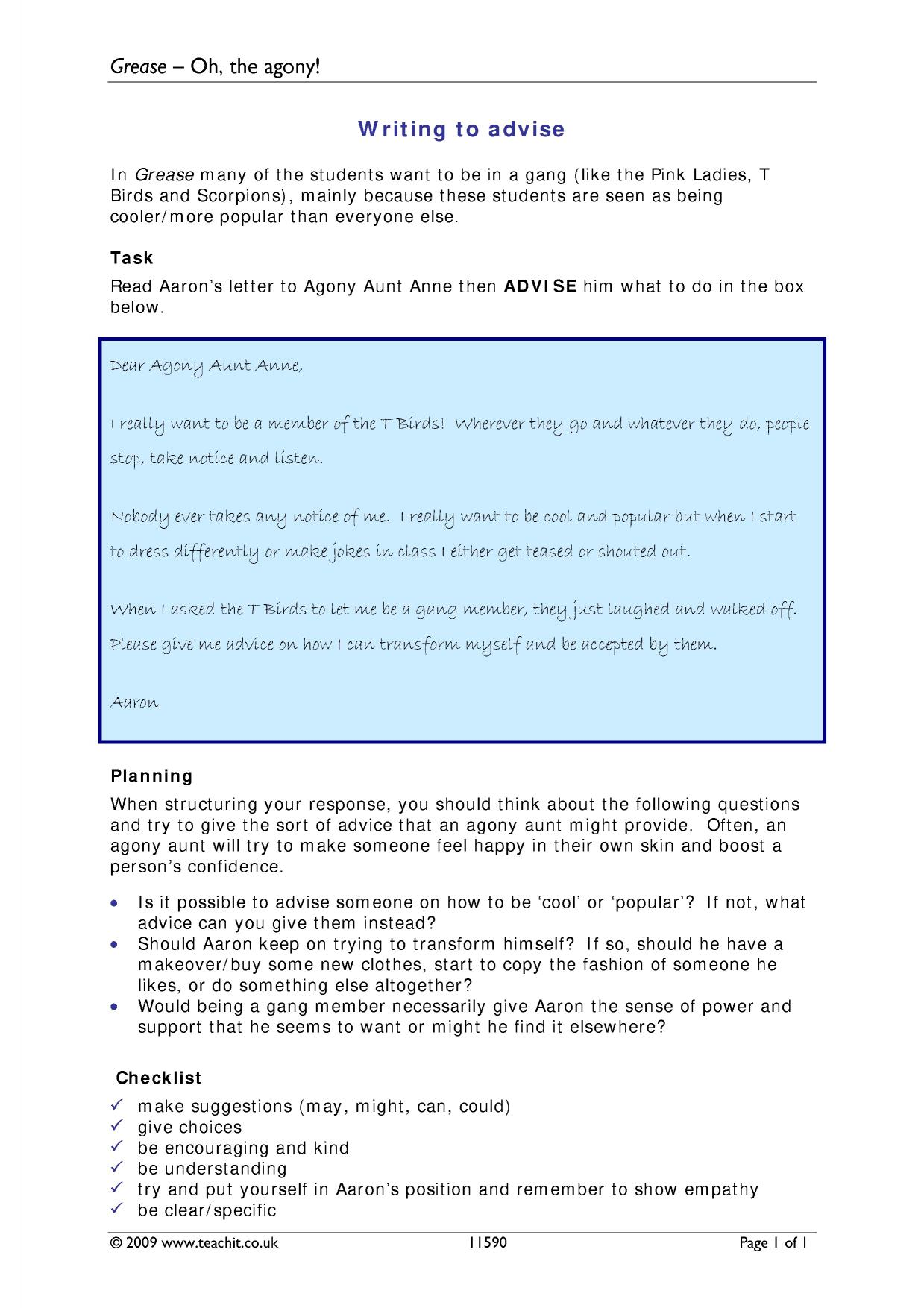 letter writing - search results - Teachit English