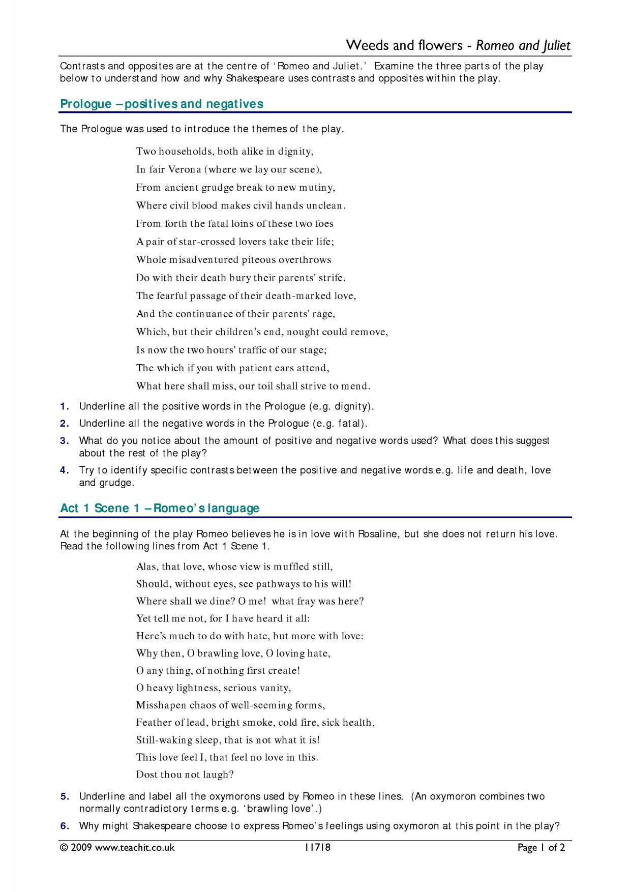 worksheet Romeo And Juliet Prologue Worksheet ks4 romeo and juliet teachit english 1 preview