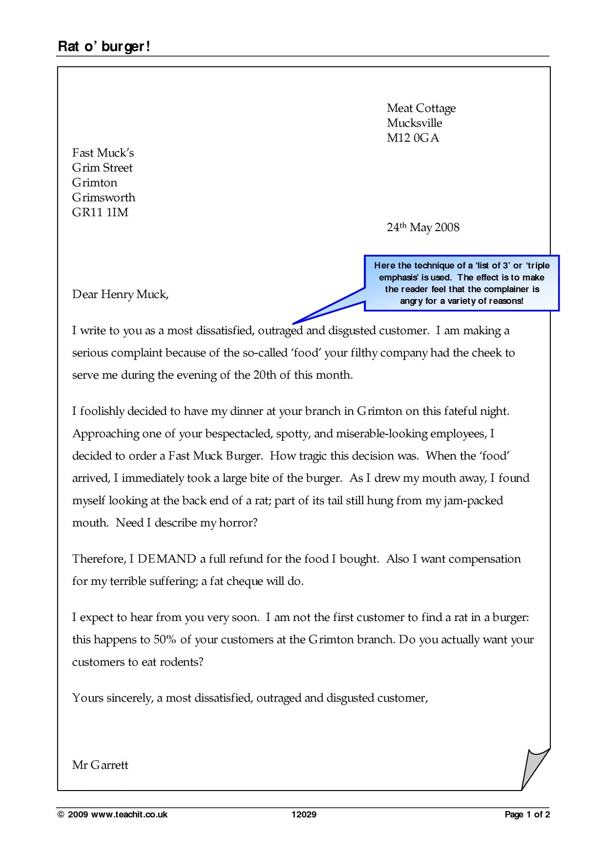 Formal Letter Format Gcse