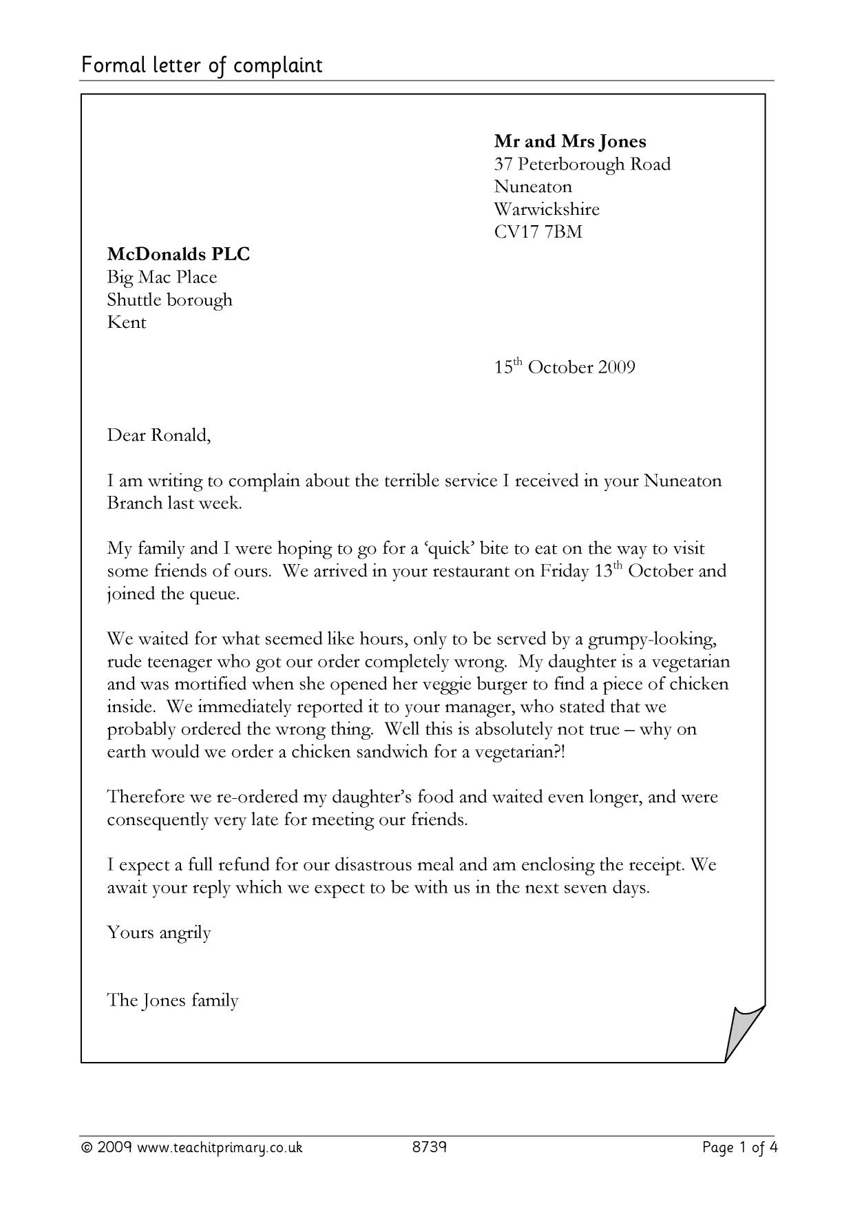 formal letter of complaint letter writing home page resource thumbnail