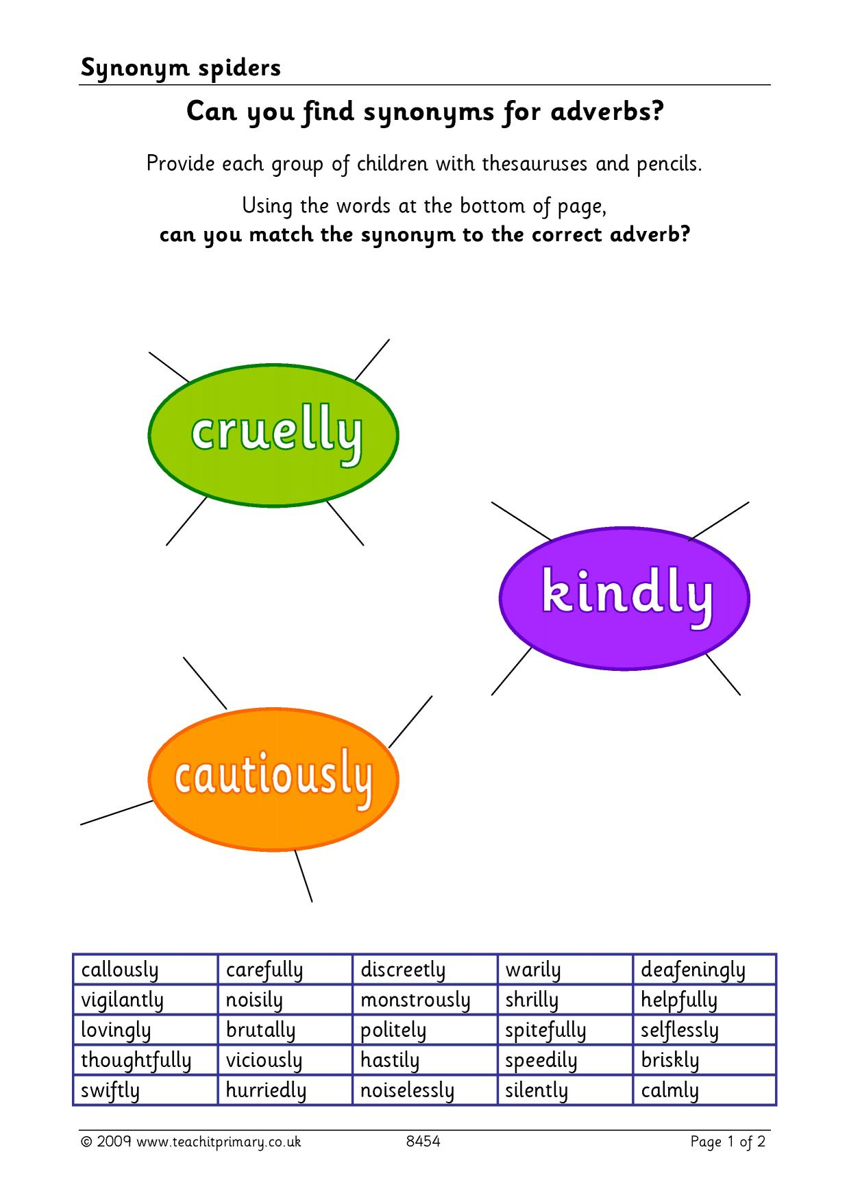 Synonym spiders word classes synonyms and antonyms home page resource thumbnail ccuart Choice Image