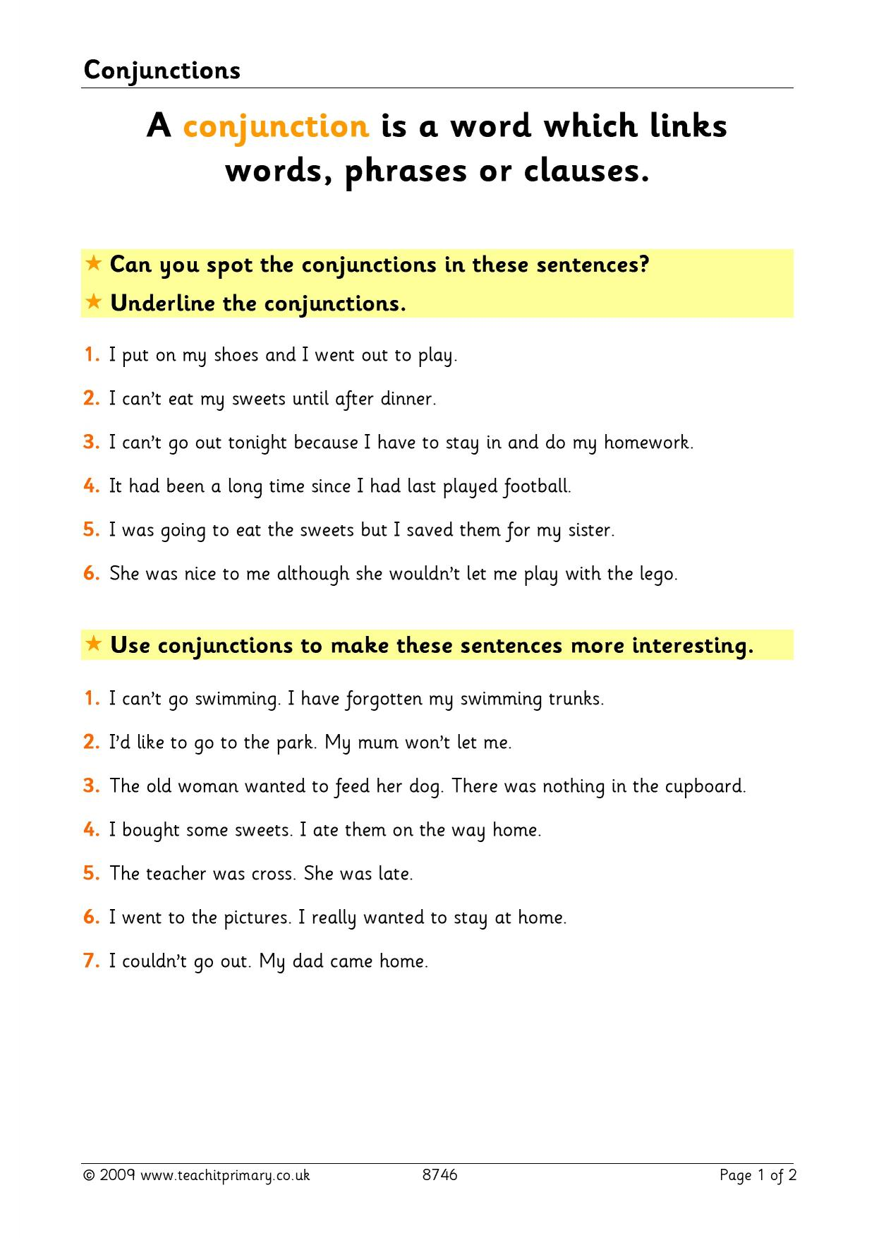 Teaching Conjunctions: A Lesson Plan on How to Teach ...