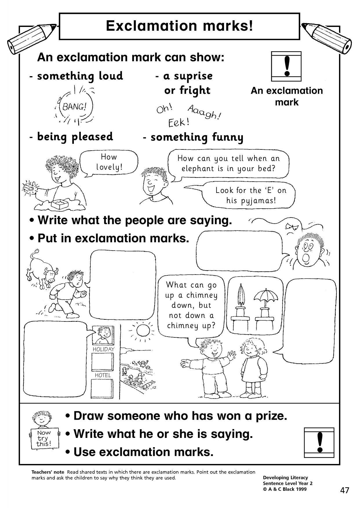 worksheet Exclamation Mark Worksheets Ks2 exclamation marks basic punctuation home page resource thumbnail