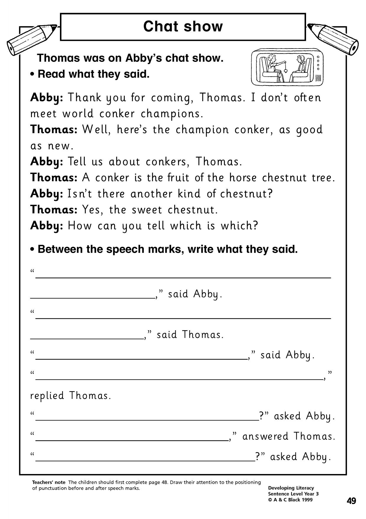 KS2 | Direct speech | Teachit Primary