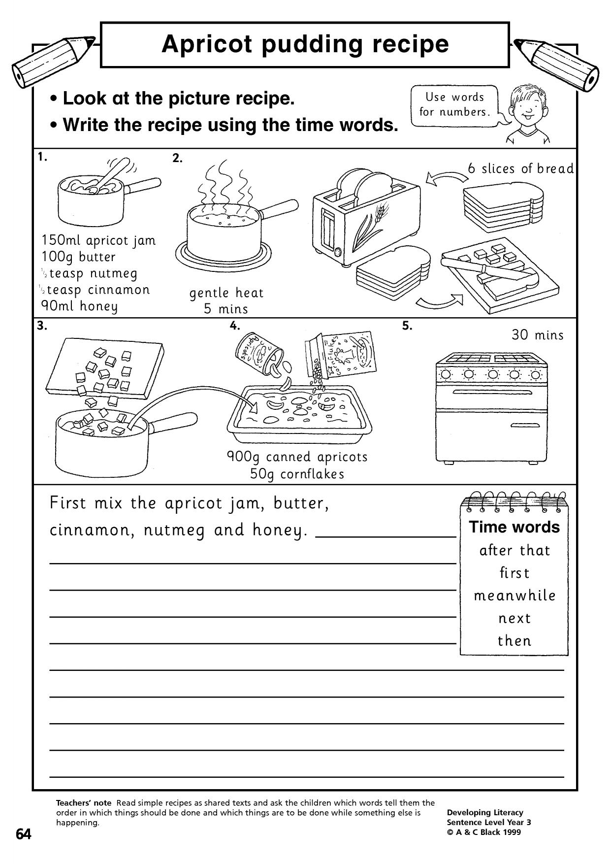 worksheet Reading A Recipe Worksheet instructions writing composition english resources 0 preview