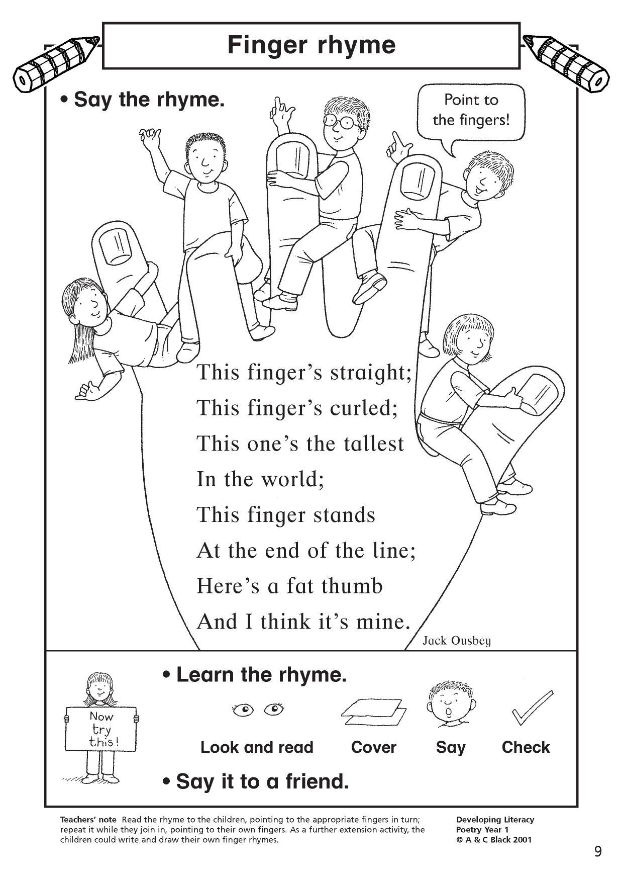 EYFS KS1 KS2 Poetry exploring rhythm and rhyming