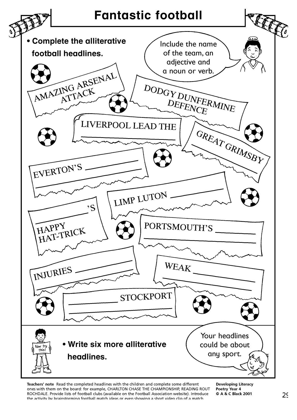 Alphabet alliteration poems about football