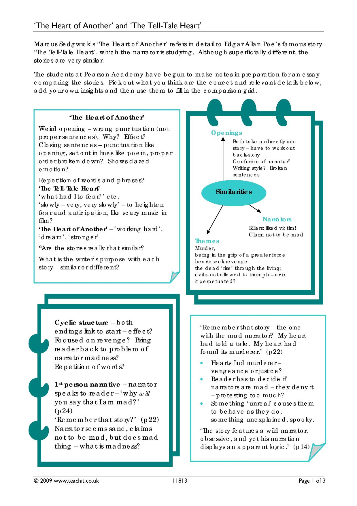 the tell tale heart search results Teachit English – The Tell Tale Heart Worksheets