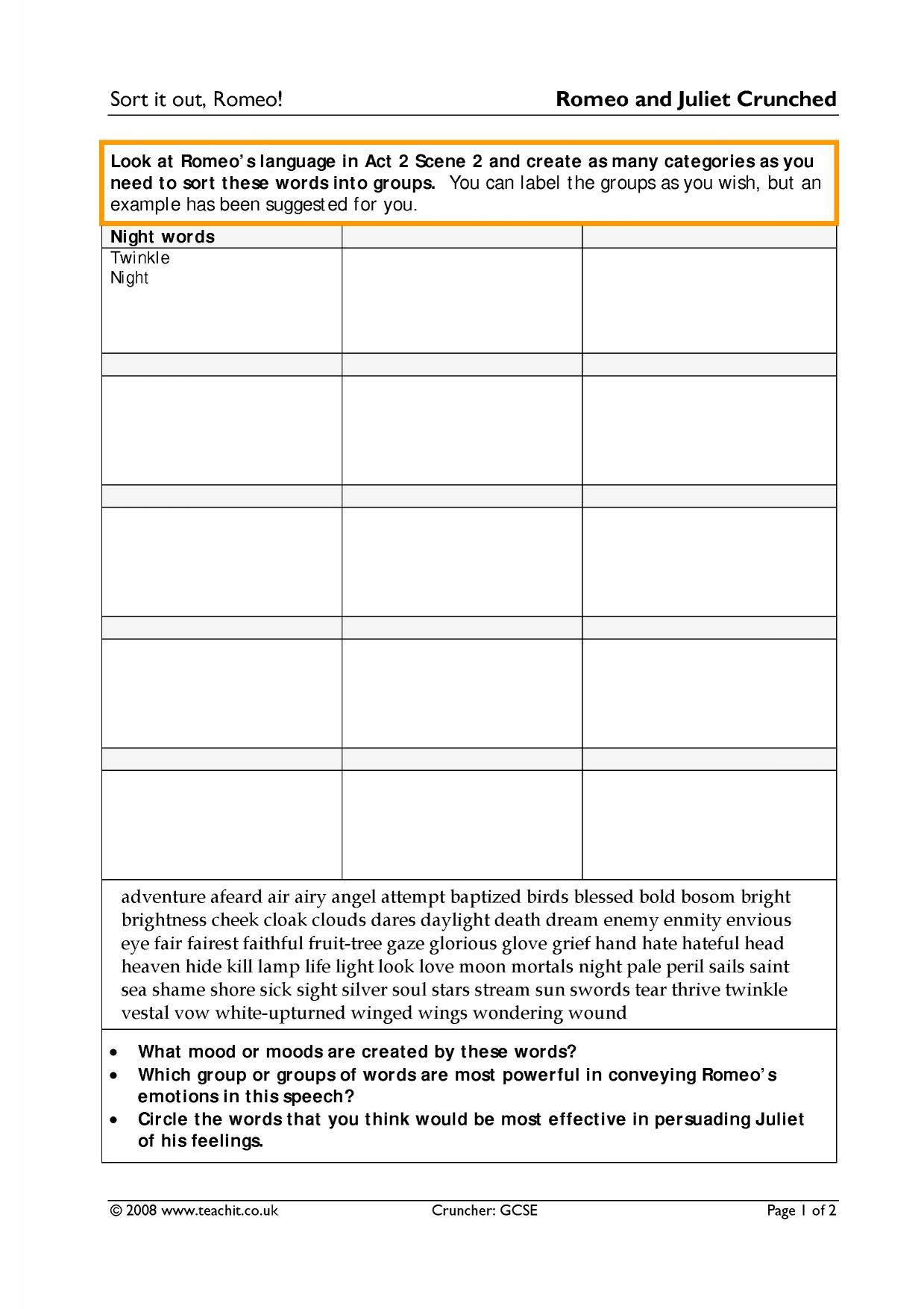 worksheet Romeo And Juliet Timeline Worksheet ks4 romeo and juliet teachit english 7 preview