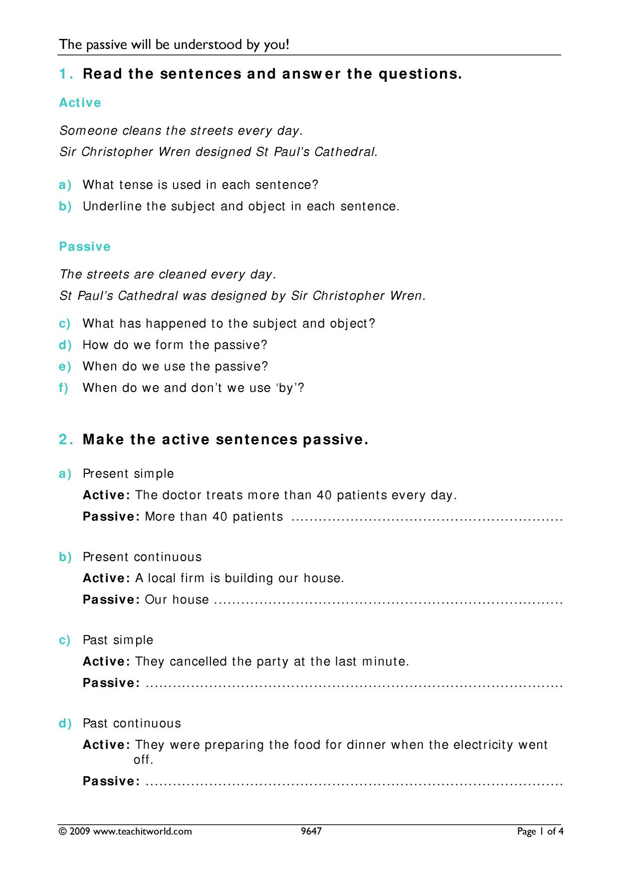 B2 Passive – Passive and Active Voice Worksheet