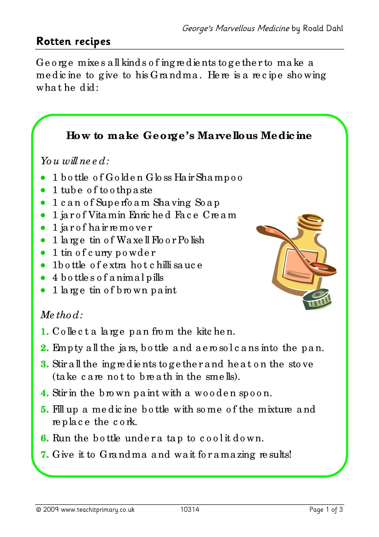 George's Marvellous Medicine - write a recipe - Books by ...