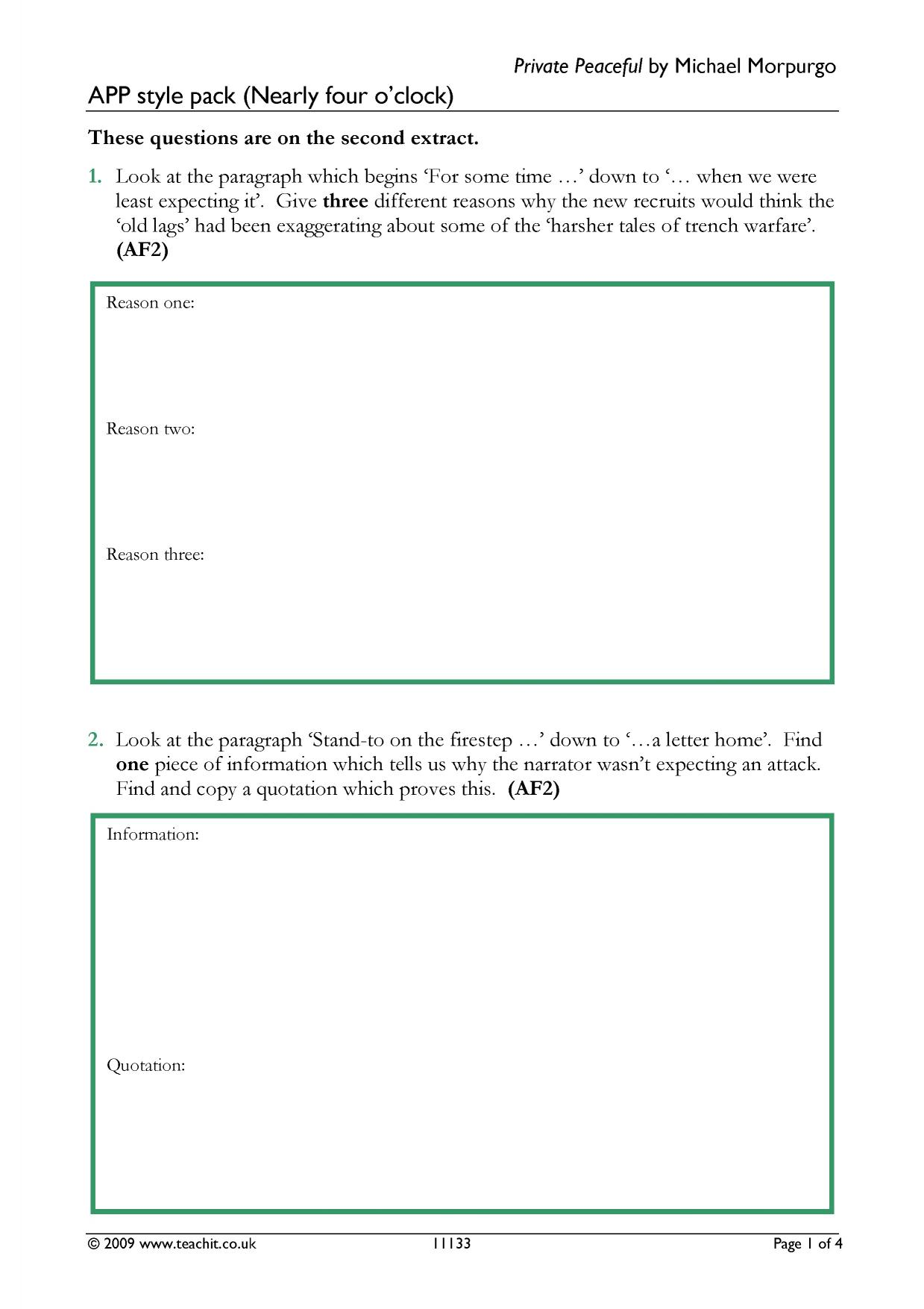 KS3 Private Peaceful by Michael Morpurgo – Trench Warfare Worksheet
