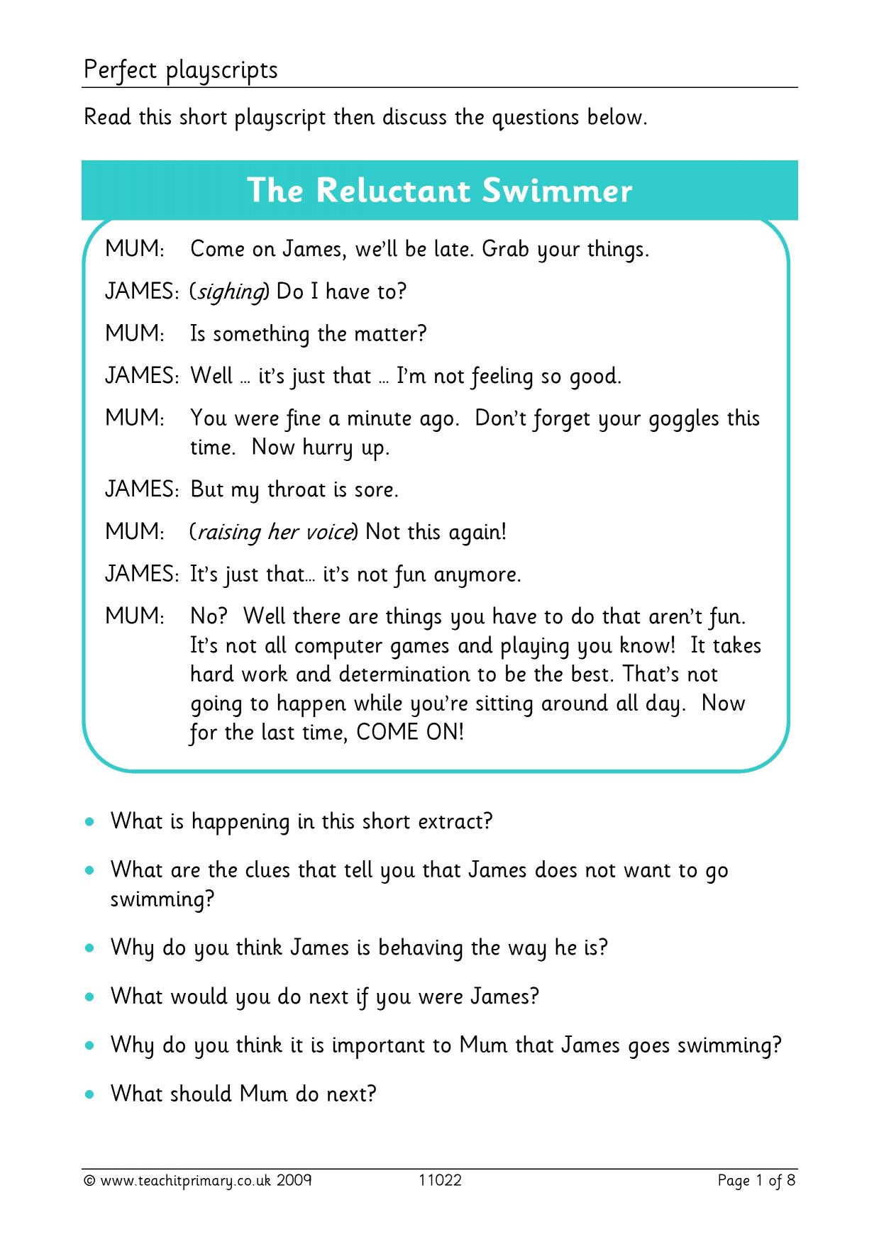 homework playscripts ks2