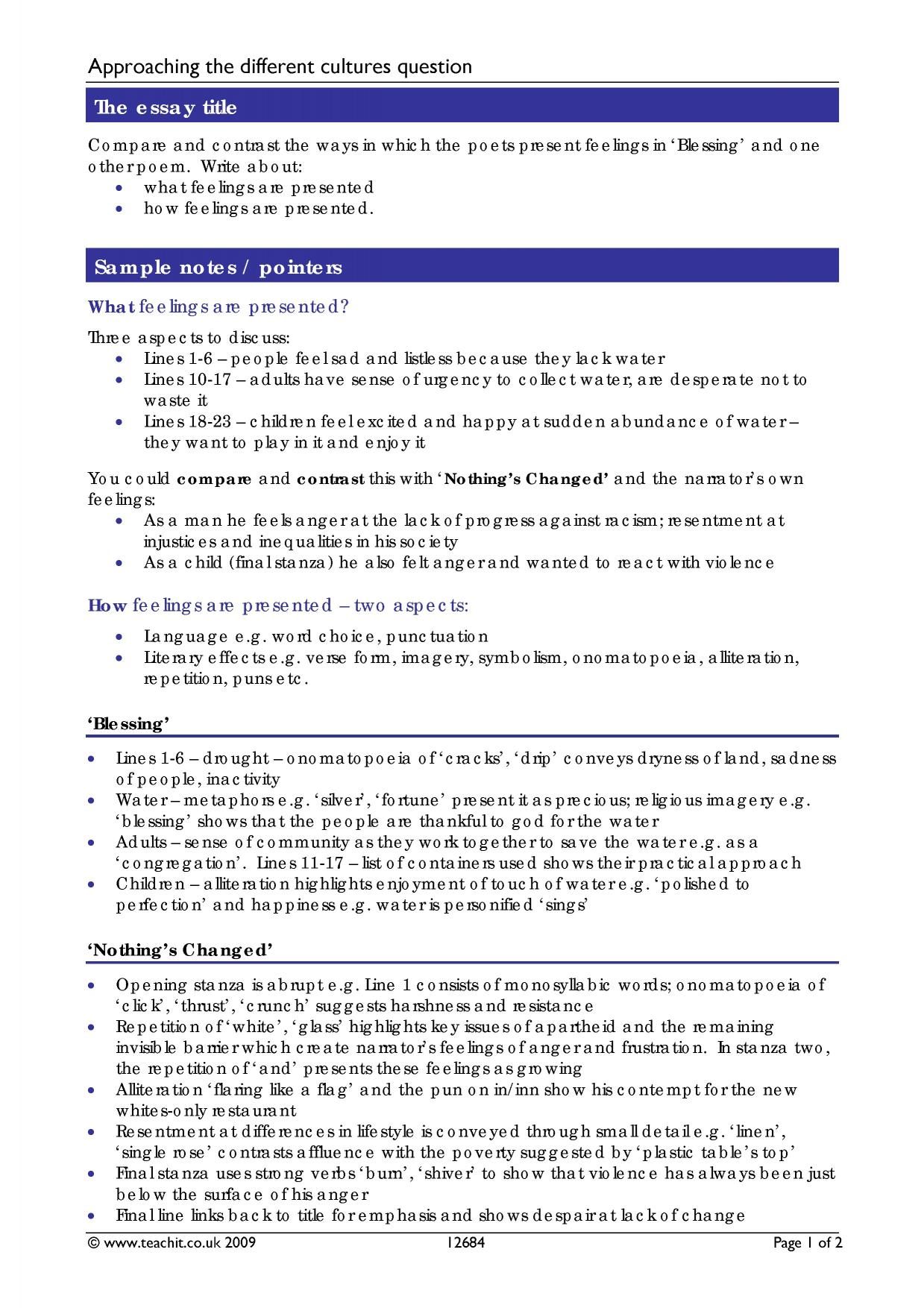 poems different cultures essay questions